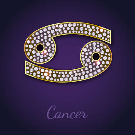 Golden Cancer zodiac signs with diamonds, editable vector illustration