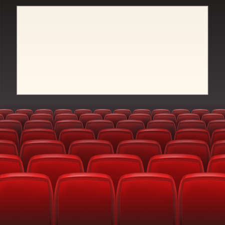 cinema screen: Red seats with white blank screen and space for your text Illustration
