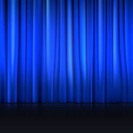 blue velvet: Close view of a blue curtain. Vector illustration background for your presentation Illustration