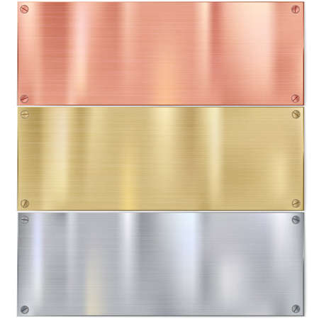 cobre: Brocha brillante placas de metal con tornillos. Fondo del acero inoxidable, ilustraci�n vectorial para