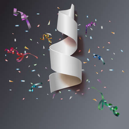 xmass: Colorful streamers with confetti. White curved ribbon, on celebration background with colorful confetti and ribbons. New year and xmass background