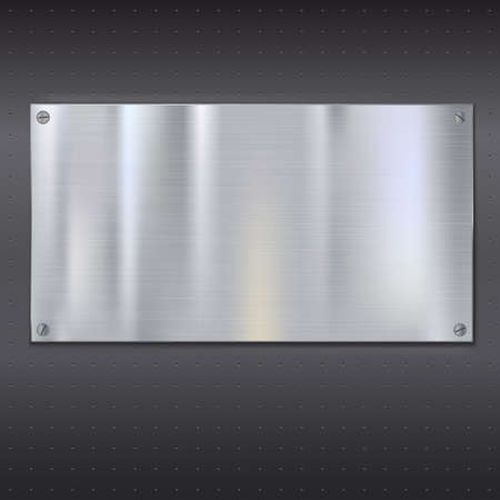brushed steel: Metal plate over grate texture with screws, stainless steel metal with place for your text, vector illustration for your design. Illustration