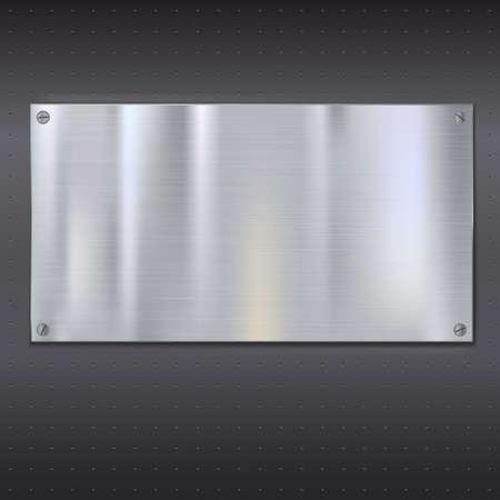 Placa metálica sobre la textura de rejilla con tornillos metálicos de acero inoxidable con el lugar para su texto, ilustración vectorial para su diseño. Vectores