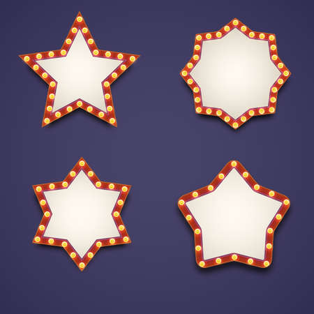 stars  background: Vector realistic volumetric signs with electric bulbs. Retro looking wall decoration element glowing with lamps