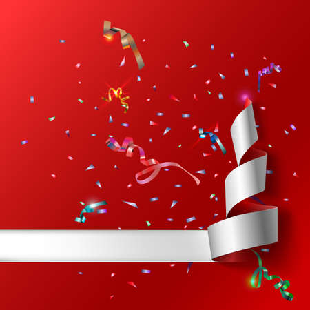 curved ribbon: Colorful streamers with confetti. Red curved ribbon, on celebration background with colorful confetti and ribbons. New year and xmass background