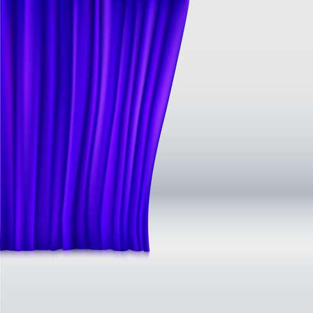terciopelo azul: Background with blue velvet curtain. Vector illustration.