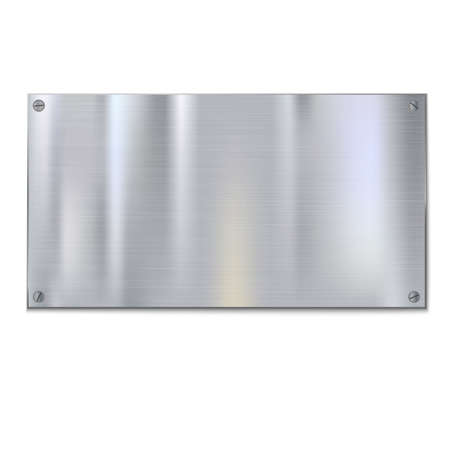 Shiny brushed metal plate with screws. Stainless steel background, vector illustration for you Vectores