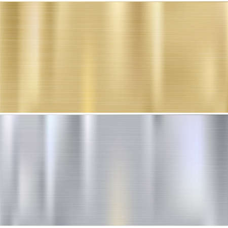 Shiny brushed metal plates. Stainless steel background, vector illustration for you Vettoriali