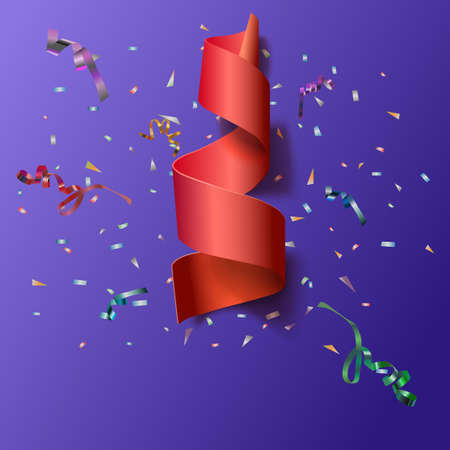 confetti: Colorful streamers with confetti. Red curved ribbon, on celebration background with colorful confetti and ribbons. New year and xmass background