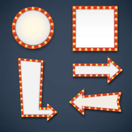 arrow sign: Vector realistic volumetric signs with electric bulbs. Retro looking wall decoration element glowing with lamps