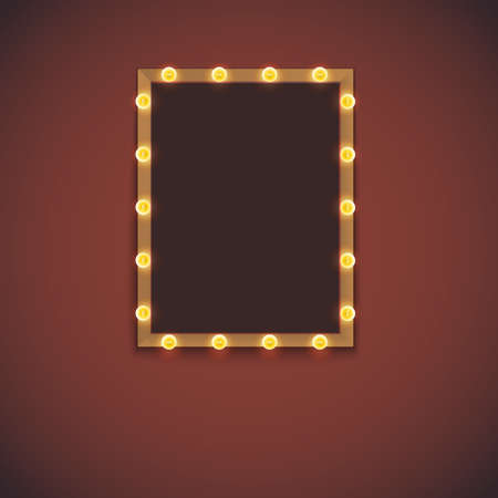 Frame and electric bulbs with space for text. Template for design, light banner. Vector illustration