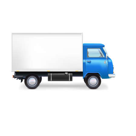white boxes: Commercial delivery, cargo truck Illustration