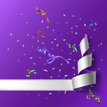 xmass: Colorful streamers with confetti. Purple curved ribbon, on celebration background with colorful confetti and ribbons. New year and xmass background Illustration