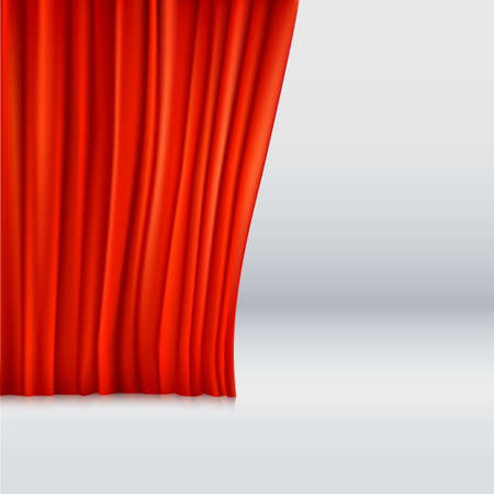 red theater curtain: Background with red velvet curtain. Vector illustration.