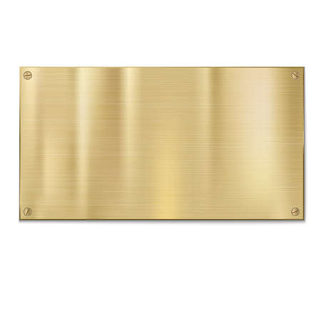 plaque: Shiny brushed metal plate with screws. Stainless steel background, vector illustration for you Illustration