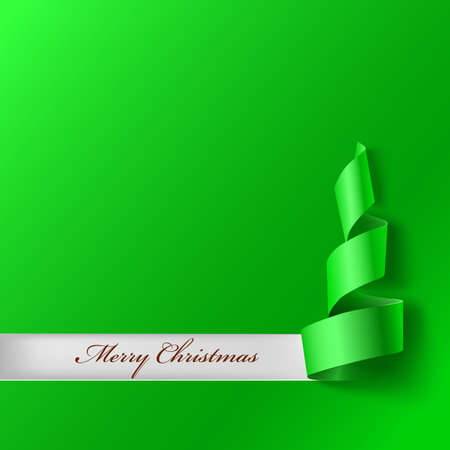 xmass: Christmas tree from ribbon. Green curved ribbon, on green background. Vector illustration for your design. New year and xmass background