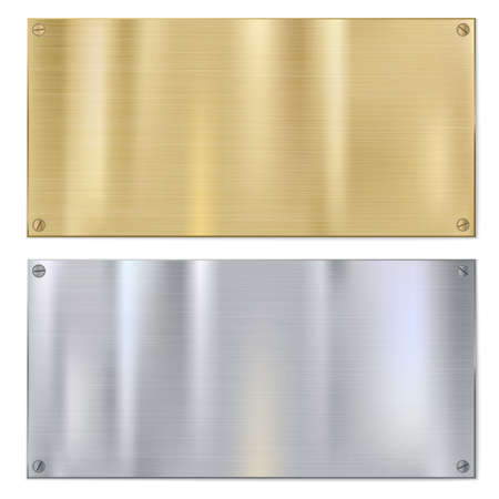gold silver bronze: Shiny brushed metal plates with screws. Stainless steel background, vector illustration for you