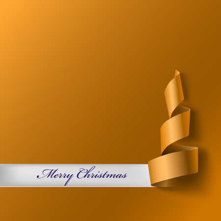 xmass: Christmas tree from ribbon. Yellow curved ribbon, on yellow background. Vector illustration for your design. New year and xmass background
