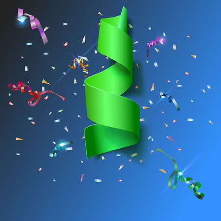 xmass: Colorful streamers with confetti. Green curved ribbon, on celebration background with colorful confetti and ribbons. New year and xmass background Illustration