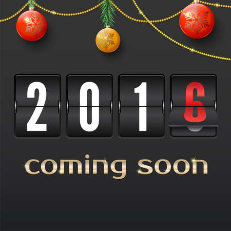 impending: 2016 countdown timer isolated. Analog scoreboard flip calendar on dark background. Flip countdown calendar is a great way to inform of the impending New Year. Happy new year 2016 card