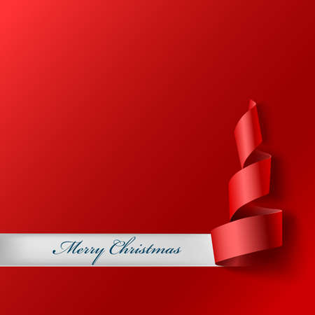 curved ribbon: Christmas tree from ribbon. Red curved ribbon, on red background. Illustration for your design. New year and xmas background