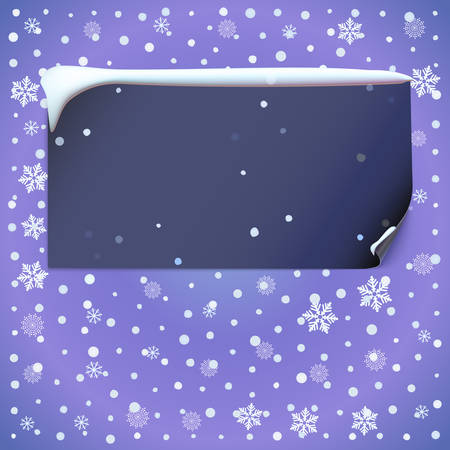 snowdrift: Winter background with snow-flake, dark banner and snowdrift on top. Illustration