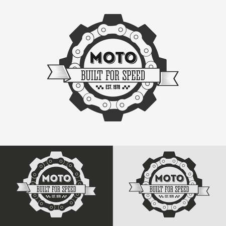 human chain: Vintage label with chain and cogwheel for t-shirt print, poster, emblem. Vector illustration.