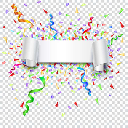 confetti white: Festive background with banner and confetti. Editable vector for your bussines and design