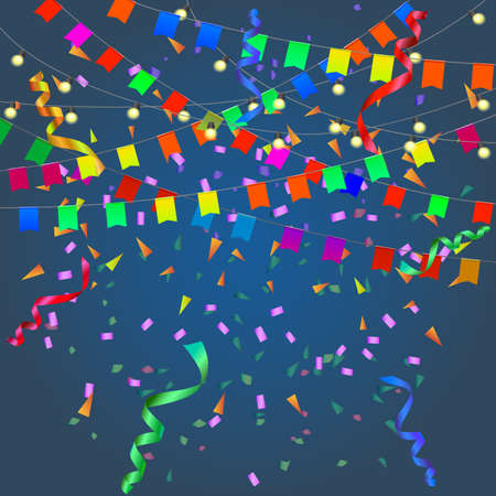 streamers: Festival background with garland, streamers, confetti and flags isolated. Illustration