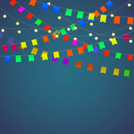 streamers: Festival background with garland, streamers and flags isolated.