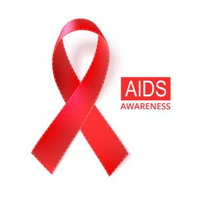aids awareness ribbon: Red AIDS awareness ribbon, isolated on white. Vector illustration  eps10. Illustration