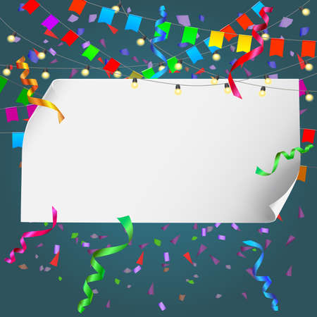 bussines: Festive background with banner and confetti. Editable vector for your bussines and design
