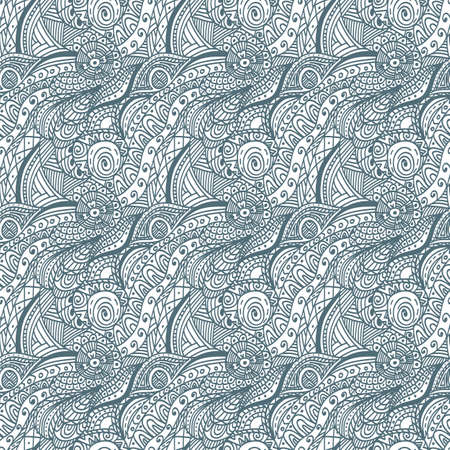 multiply: Black and white vector seamless hand-drawn pattern. Abstract wave pattern. Can be used as hand drawn seamless wave background. Doodle style. Place the pattern on your canvas and multiply. Illustration