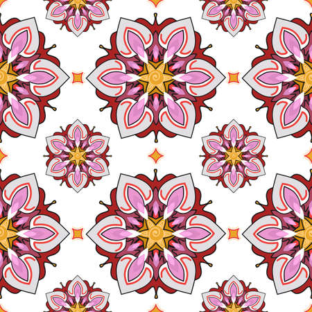 multiplicar: Summer theme seamless pattern, abstract floral background, vector wallpaper, spring and summer theme for your design. Doodle style. Place the pattern on your canvas and multiply. Vectores