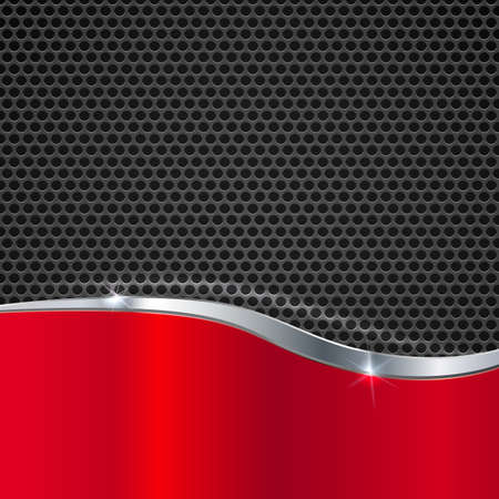 Elegant vector metallic background. Color polished texture with highlights and glow on the background of metal mesh