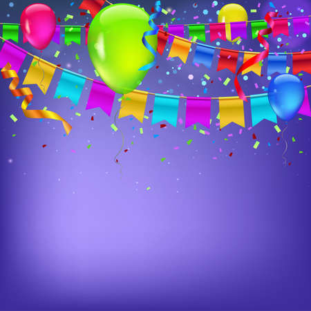 streamers: Abstract colored background with balloons, garlands of colored flags, streamers and confetti. Holiday greeting card for Christmas, new year, birthday or anniversary. Template for your inspiration