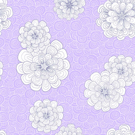 multiply: Abstract background with flowers and simple color combination. Patterns are drawn by hand. Japones doodle style. Place the pattern on your canvas and multiply. Illustration