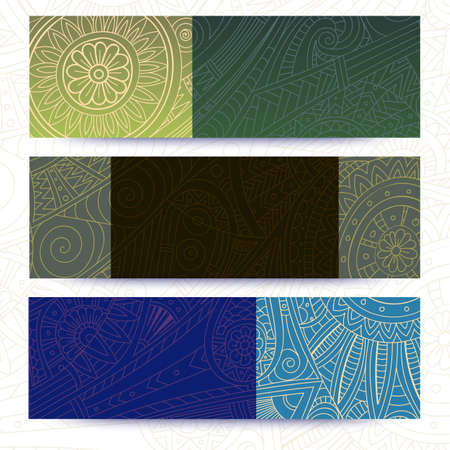 batik: Tribal vintage ethnic banner. Hand-drawn vector doodles