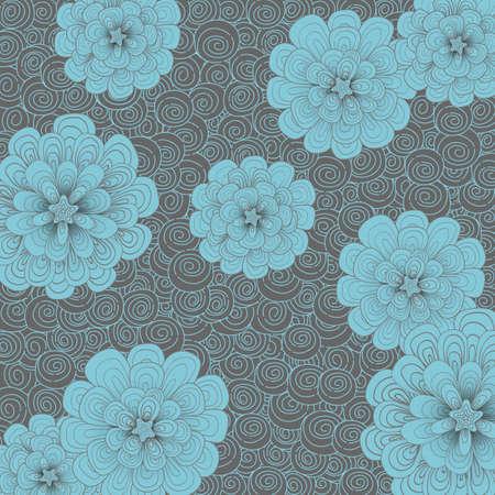 multiplicar: Resumen de fondo con flores y combinación de colores simple. Japoneses del estilo del Doodle. Coloque el patrón sobre el lienzo y se multiplican. Vectores