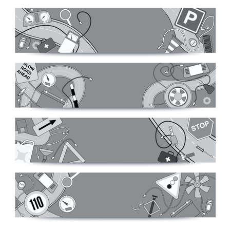 piezas coche: Gr�ficos iconos doodle incompleta. Horizontales plantillas de banners de dise�o establecidos para sus Bussines Vectores