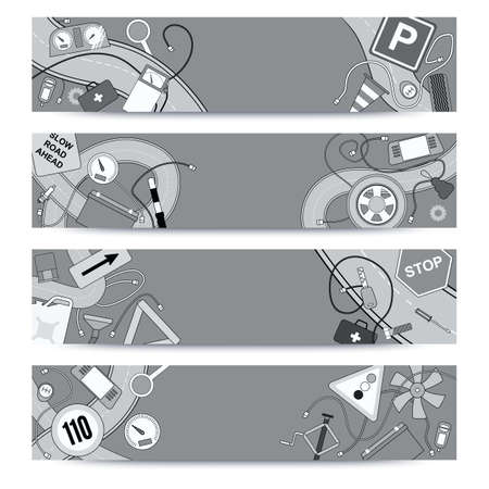 service car: Graphics sketchy doodle icons. Horizontal banners design templates set for your bussines