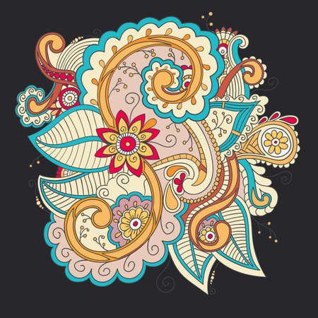 patrones de flores: modelo, estilo incompleto ornamental decorativo floral del doodle