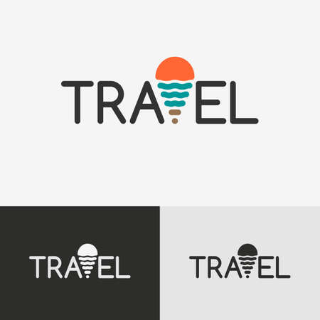 geo: Travel logo with the geo tag, symbol of the sun and the sea Illustration