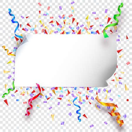 フラグ、花輪および透明な背景、プレゼンテーション、ポスター、カバー、その他のデザインのベクトル図に紙吹雪とお祭りの背景  イラスト・ベクター素材