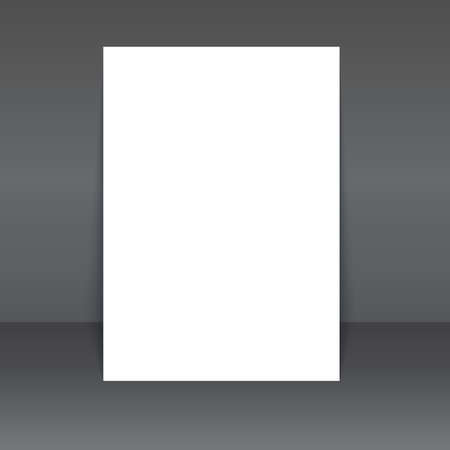 blank poster: Blank poster on the white wall and the floor, vector Mock-Up. Illustration