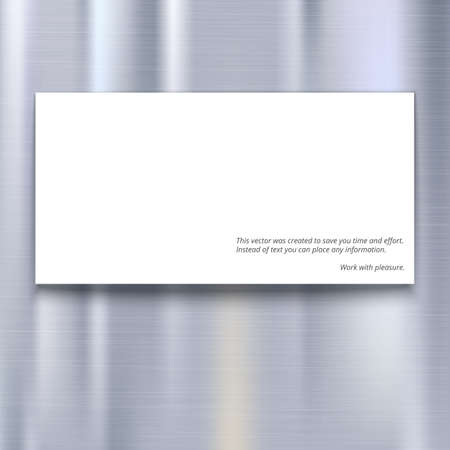 brushed aluminum: Banner with place for your design and text on metal texture background, vector illustration. Light metal background with horizontal scratches texture Illustration