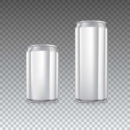 Aluminium blikjes op transparante achtergrond. Leeg blikje met kopie ruimte, vector illustratie voor uw presentatie, posters, dekking en andere design Stock Illustratie