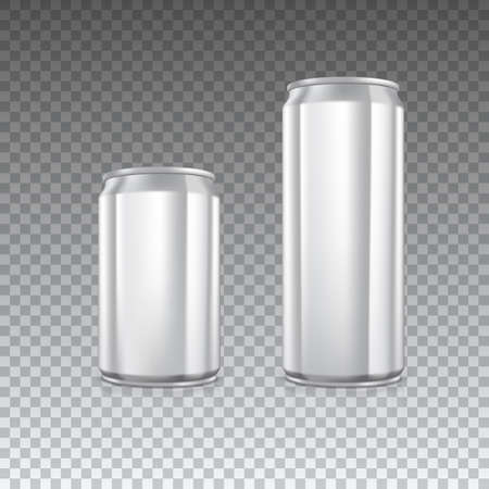 Aluminum metal cans on transparent background. Blank can with copy space, vector illustration for your presentation, posters, cover and other design