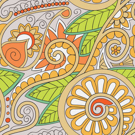 cropped: Beautiful decorative floral ornamental sketchy seamless pattern, doodle style. All elements are not cropped and hidden under mask, place the pattern on canvas and repeat