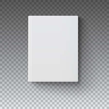copertina del libro in bianco, vettore illustrazione di maglia di gradiente. Oggetti isolati modello per la progettazione e branding. Mock-up del libro su sfondo trasparente